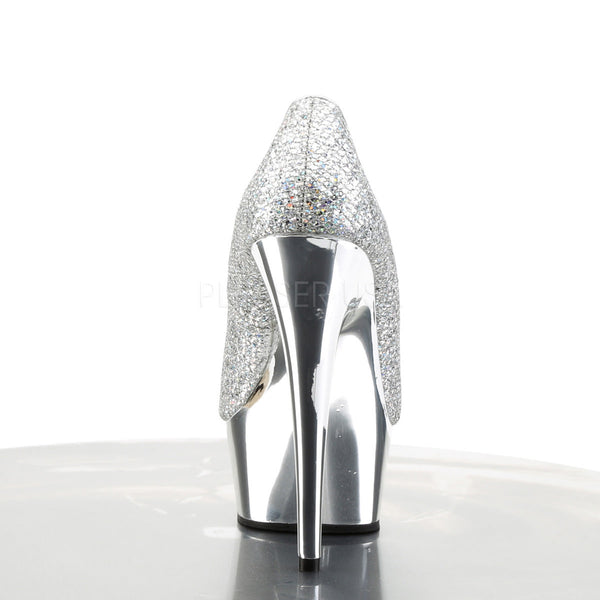 PLEASER DELIGHT-685G Silver Multi Glitter-Silver Chrome Pumps