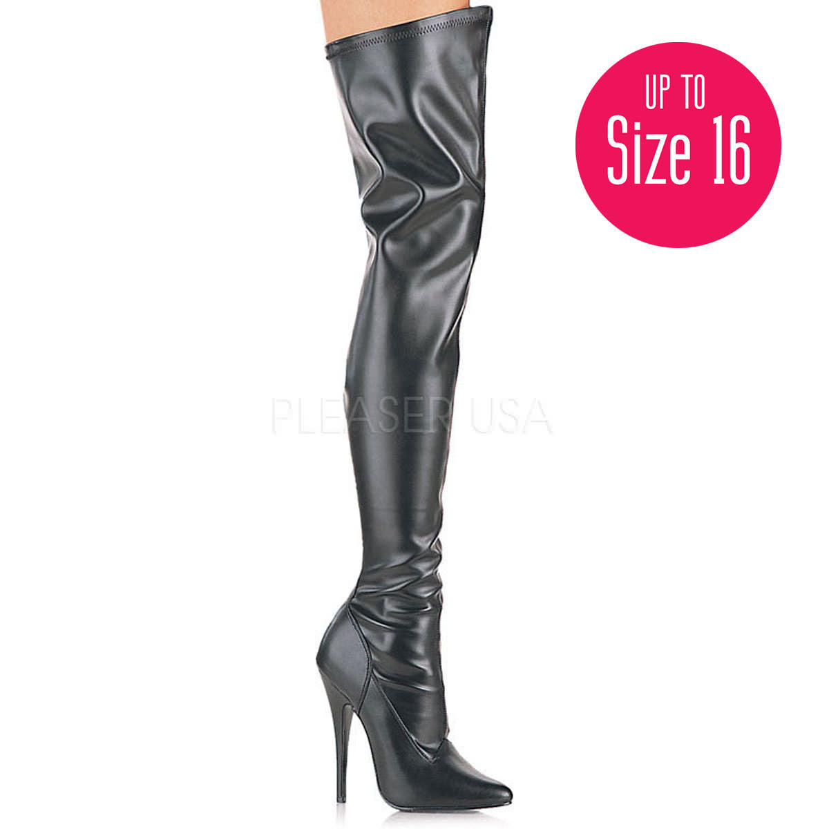 DEVIOUS DOMINA-3000 Black Stretch Pu Thigh High Boots - Shoecup.com