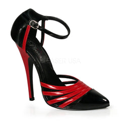 Devious,DEVIOUS DOMINA-412 Black Red Pat D'Orsay Pumps - Shoecup.com