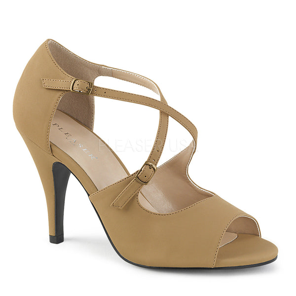 Pleaser Pink Label DREAM-412 Taupe Nubuck Ankle Strap Sandals - Shoecup.com