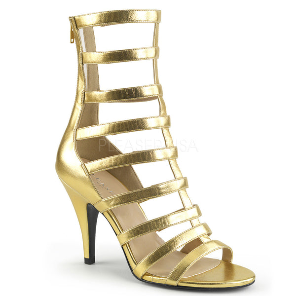 Pleaser Pink Label DREAM-438 Gold Ankle Boots - Shoecup.com