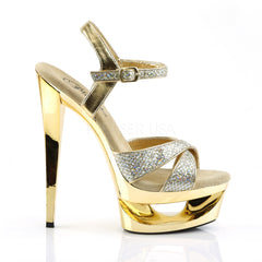 PLEASER ECLIPSE-619G Gold Multi Glitter-Gold Chrome Ankle Strap Sandals