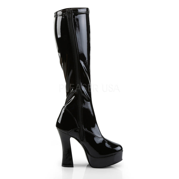 PLEASER ELECTRA-2000Z Black Stretch Pat Knee High Boots