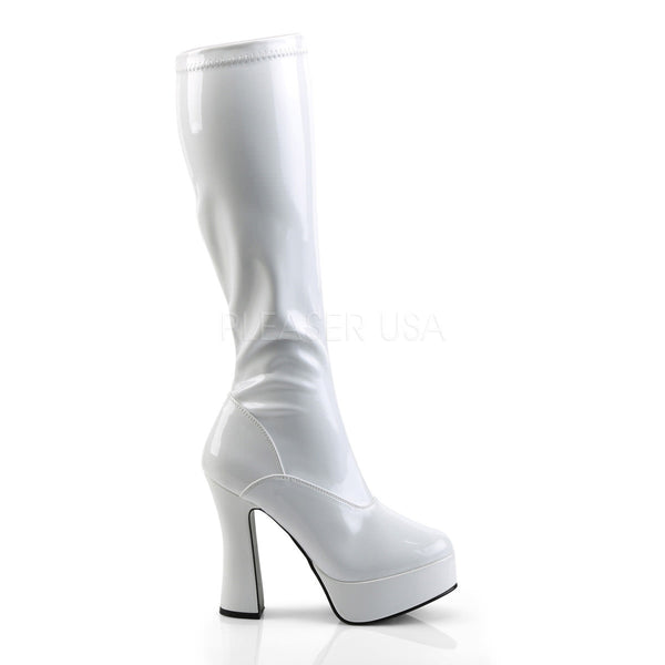 PLEASER ELECTRA-2000Z White Stretch Pat Knee High Boots