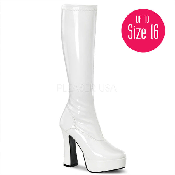 PLEASER ELECTRA-2000Z White Stretch Pat Knee High Boots - Shoecup.com