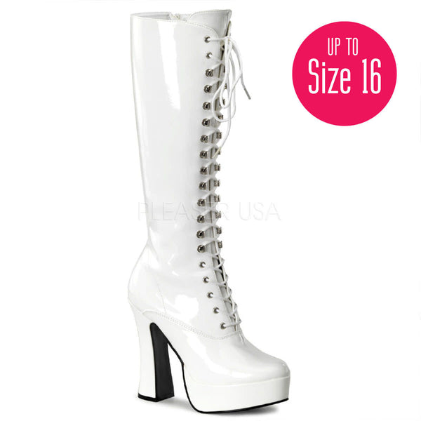 PLEASER ELECTRA-2020 White Pat Knee High Boots - Shoecup.com