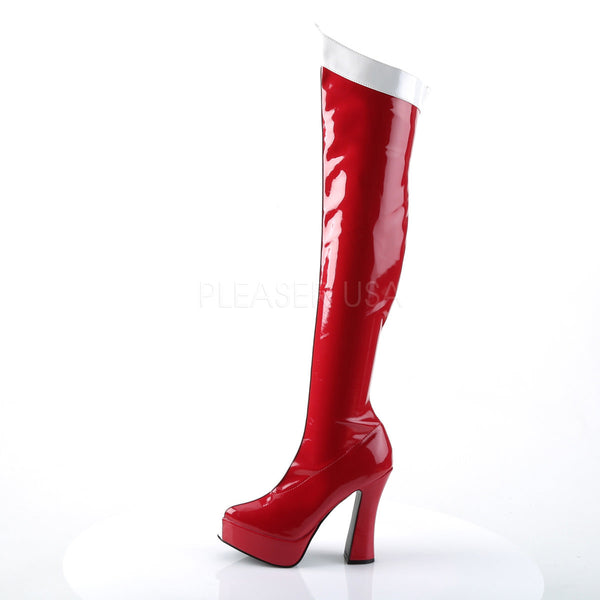 Red-White Stretch Pat Knee High Wonder Woman Boots