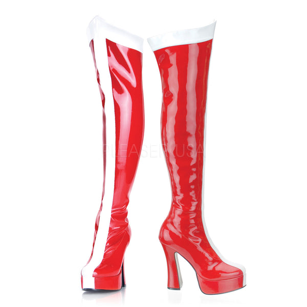FUNTASMA ELECTRA-2090 Red-White Stretch Pat Knee High Boots - Shoecup.com