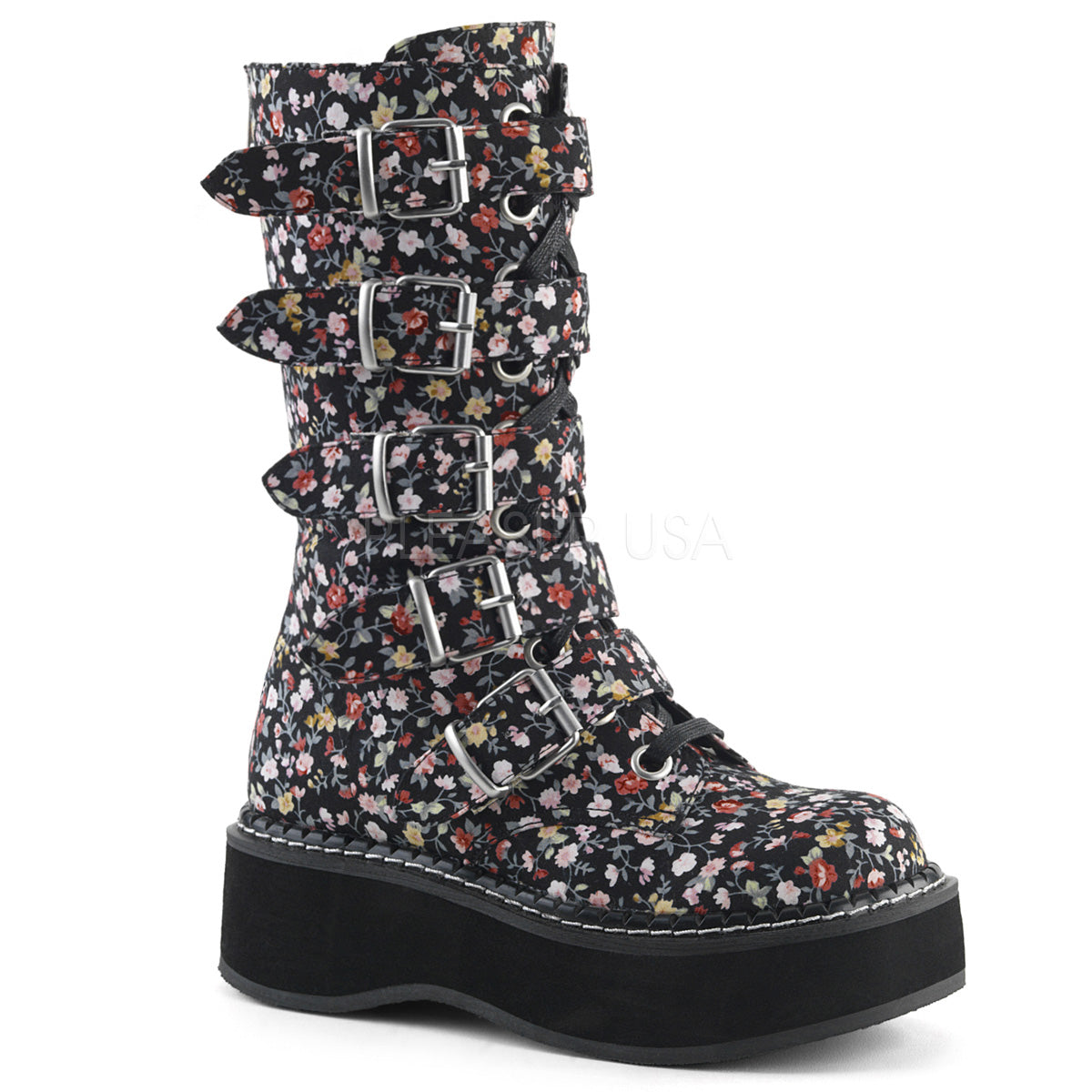 "Demonia EMILY-340 Floral Fabric 2"" (51mm) Platform Lace-Up Front Mid-Calf Boot Featuring Buckle Straps, Back Metal Zip Closure"