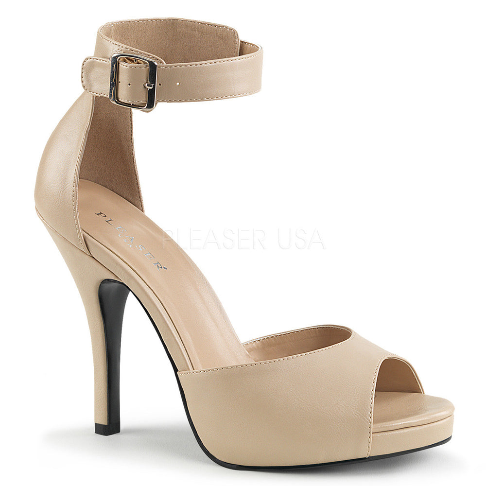 Pleaser Pink Label EVE-02 Cream Faux Leather Platform Sandals