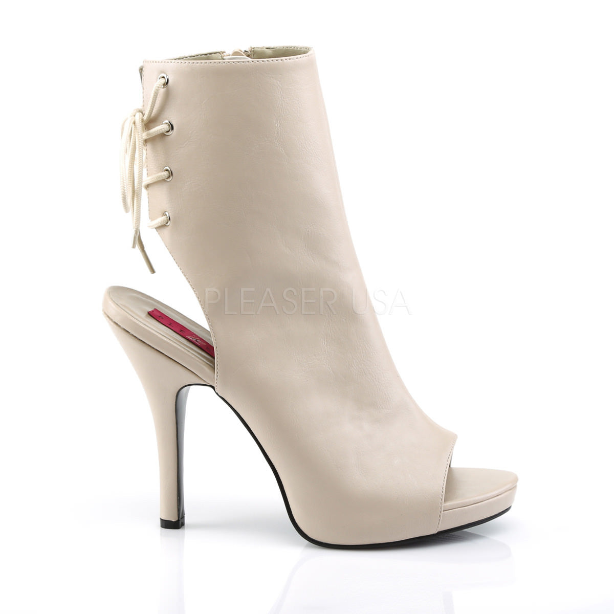 3ddc443af80f4 Pleaser Pink Label EVE-102 Cream Faux Leather Ankle Boots. Previous