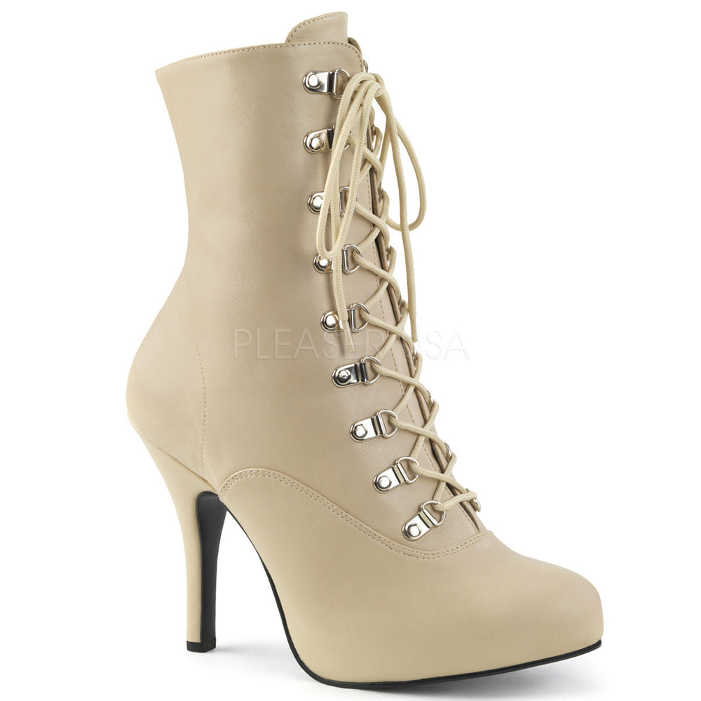 Pleaser Pink Label EVE-106 Cream Faux Leather Ankle Boots
