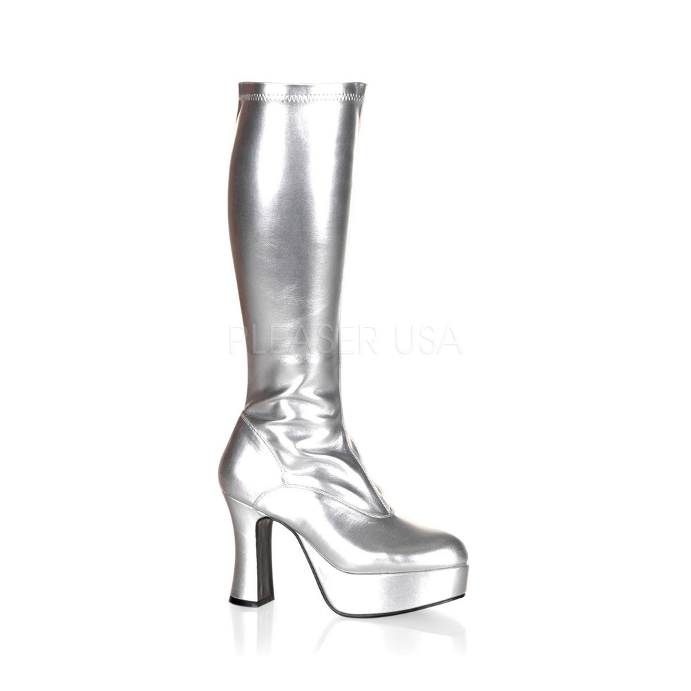 "4"" Chunky Heel Silver Stretch Pat Platform Gogo Boots"