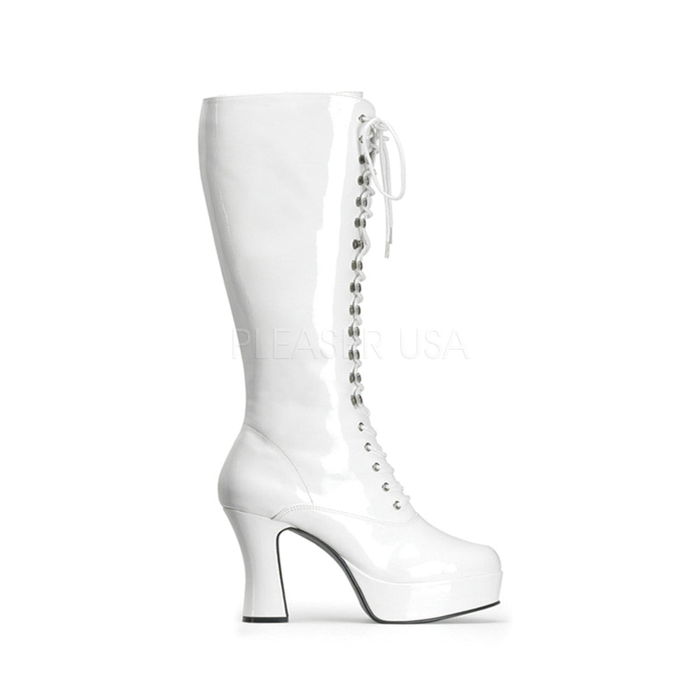 "4"" Chunky Heel Platform Lace Up Retro Costume Boots in White Pat"