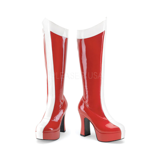 FUNTASMA EXOTICA-305 Red-White Stretch Pat Wonder Woman Boots - Shoecup.com