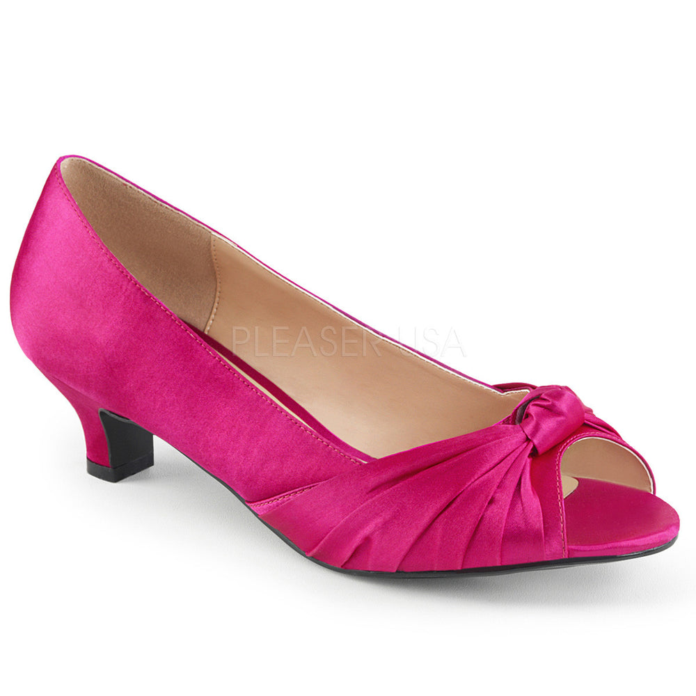 Pleaser Pink Label FAB-422 Hot Pink Satin Pumps