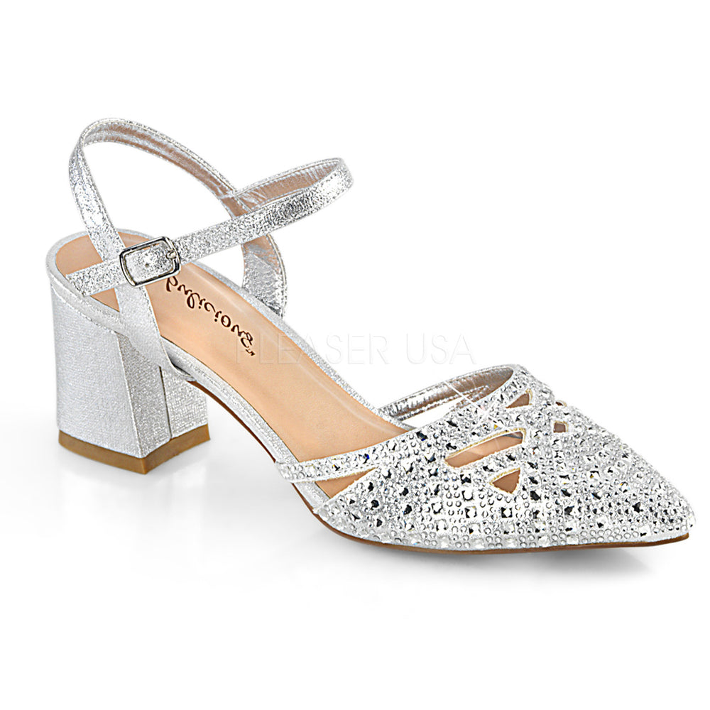 "2"" Heel FAYE-06 Silver Shimmering Fabric"