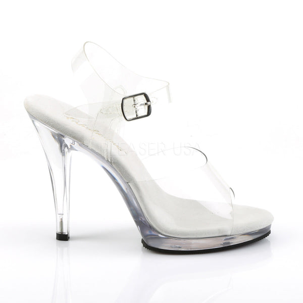 FABULICIOUS FLAIR-408 Clear-Clear Ankle Strap Sandals