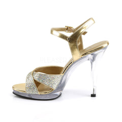 FABULICIOUS FLAIR-419(G) Gold Multi Glitter-Clear Ankle Strap Sandals
