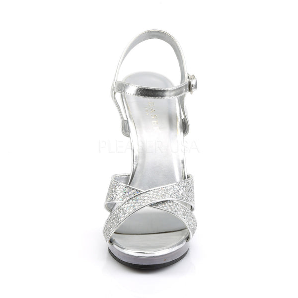 FABULICIOUS FLAIR-419(G) Silver Multi Glitter-Clear Ankle Strap Sandals