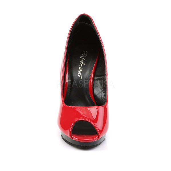 FABULICIOUS FLAIR-474 Red-Black Peep Toe Pumps