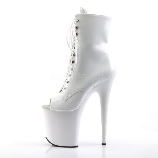 Pleaser FLAMINGO-1021 White Pat Ankle Boots - Shoecup.com - 3