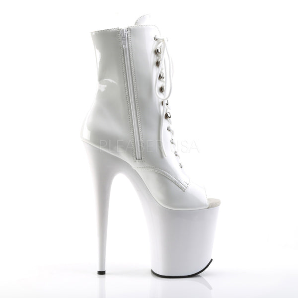 Pleaser FLAMINGO-1021 White Pat Ankle Boots - Shoecup.com - 5