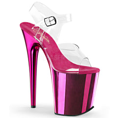 Pleaser FLAMINGO-808 Clear Ankle Strap Sandals With Hot Pink Chrome Platform - Shoecup.com