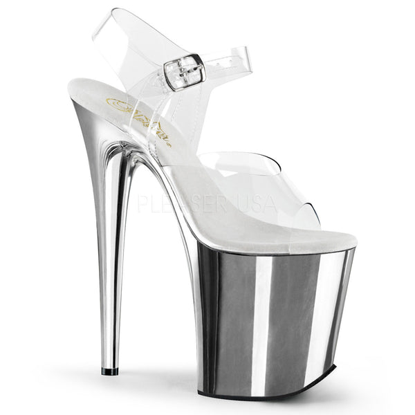 Pleaser FLAMINGO-808 Clear Ankle Strap Sandals With Silver Chrome Platform - Shoecup.com