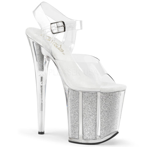 Pleaser FLAMINGO-808G Clear Ankle Strap Sandals With Silver Glitter Platform - Shoecup.com