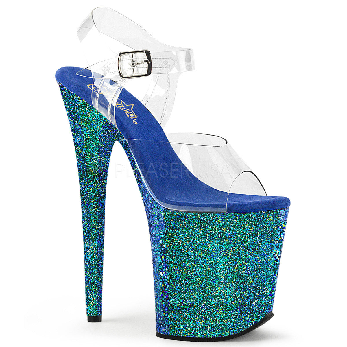 "Pleaser 7/"" gold holographic glitter stripper sandals"