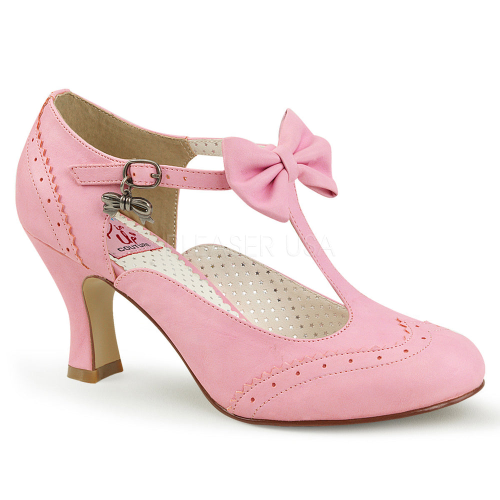 Pin Up Couture FLAPPER-11 Pink Wingtip Pump With Bow