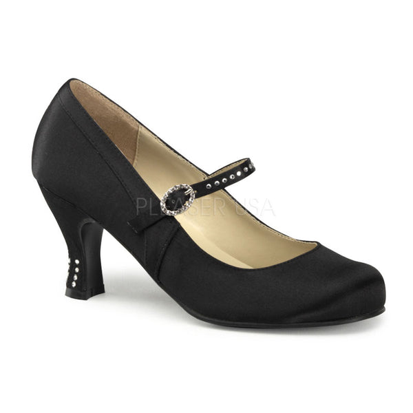 FUNTASMA FLAPPER-20 Black Satin Pu Mary Jane - Shoecup.com