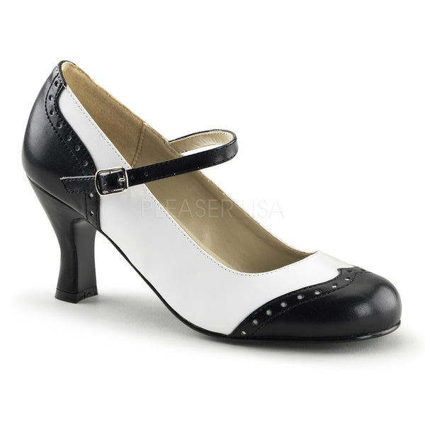 FUNTASMA FLAPPER-25 Black-White Pu Mary Jane - Shoecup.com