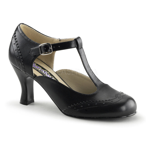 FUNTASMA FLAPPER-26 Black Pu T-Strap Pumps - Shoecup.com