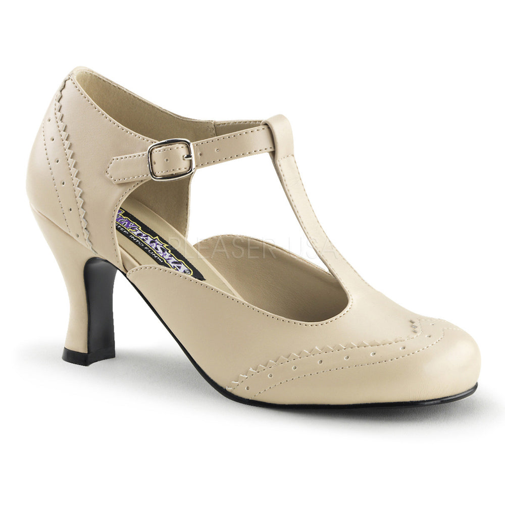 FUNTASMA FLAPPER-26 Cream Pu T-Strap Pumps