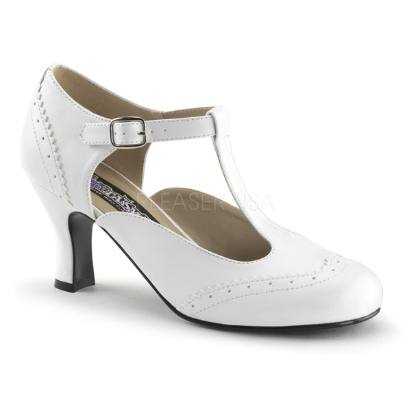 FUNTASMA FLAPPER-26 White Pu T-Strap Pumps - Shoecup.com