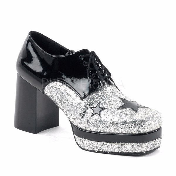 339d9d1067 Men's Black Pat-Silver Glitter Retro Oxford Shoes - Shoecup.com