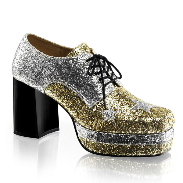 af6e421bf7 Men's Silver-Gold Glitter Disco Pimp Costume Shoes - Shoecup.com