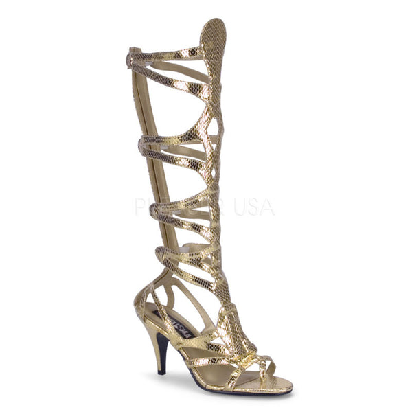 FUNTASMA GODDESS-12 Gold Met Snake Pu Sandals - Shoecup.com