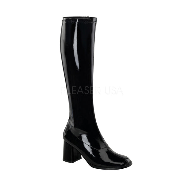 FUNTASMA GOGO-300 Black Stretch Pat Gogo Boots - Shoecup.com