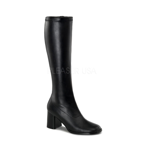 FUNTASMA GOGO-300 Black Stretch Pu Gogo Boots - Shoecup.com