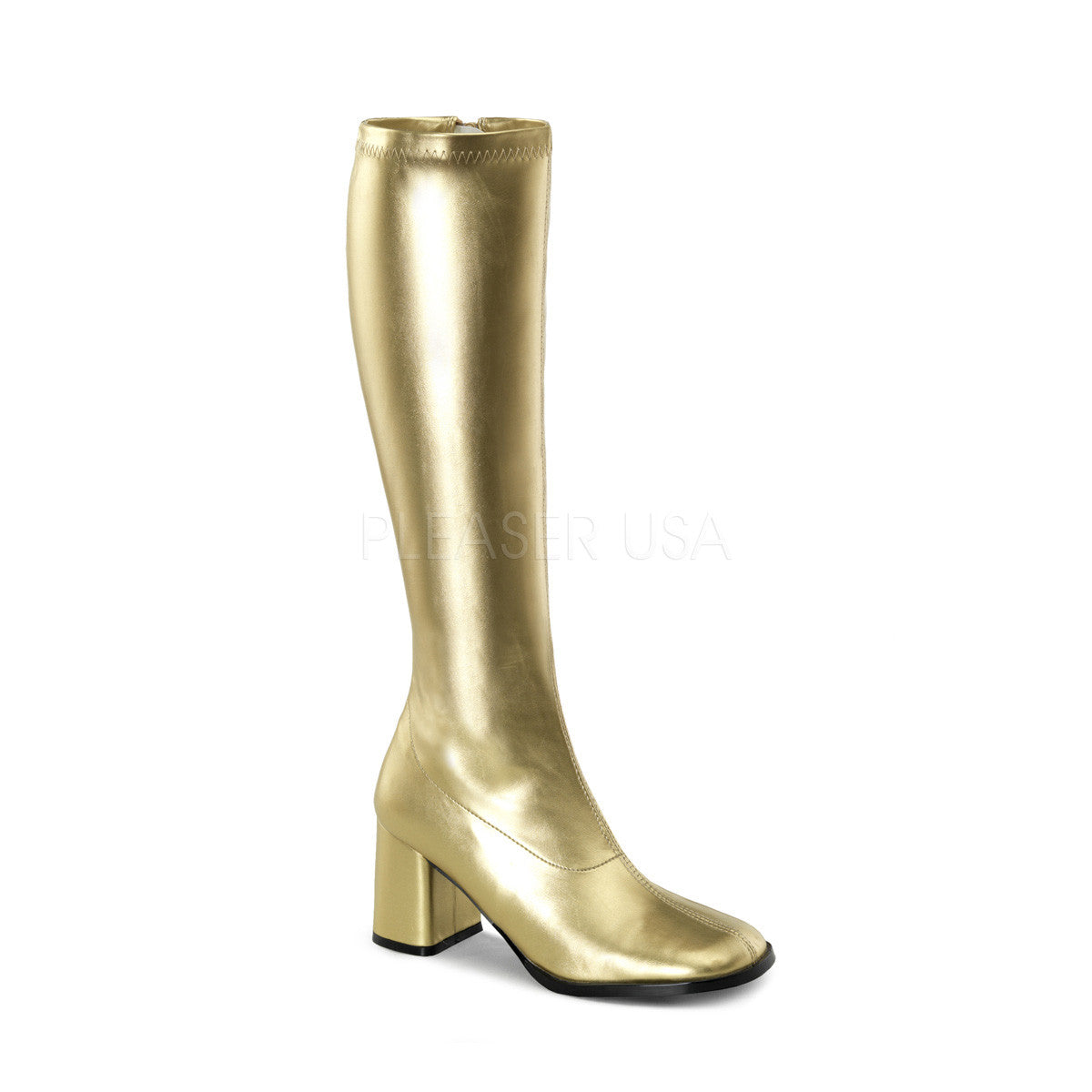 FUNTASMA GOGO-300 Gold Stretch Pu Gogo Boots - Shoecup.com
