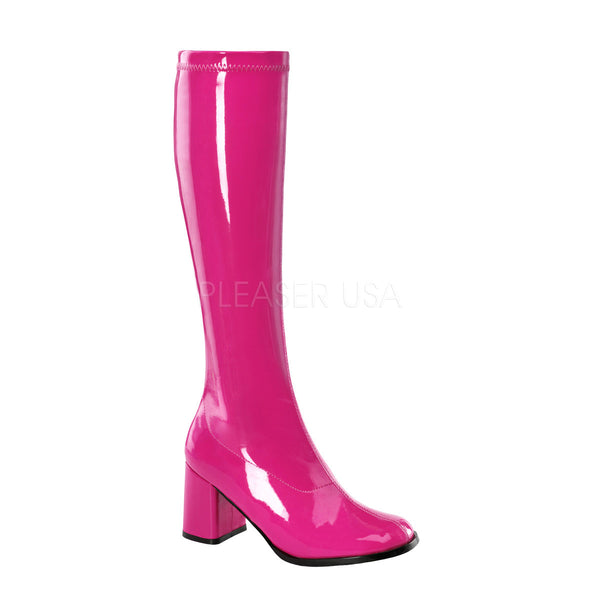 FUNTASMA GOGO-300 Hot Pink Stretch Pat Gogo Boots - Shoecup.com