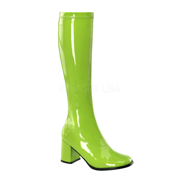 FUNTASMA GOGO-300 Lime Green Stretch Pat Gogo Boots - Shoecup.com