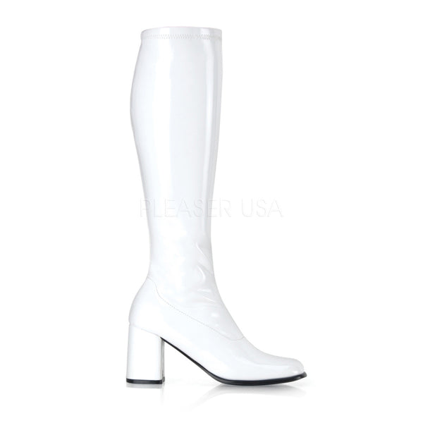 FUNTASMA GOGO-300 White Stretch Pat Gogo Boots - Shoecup.com