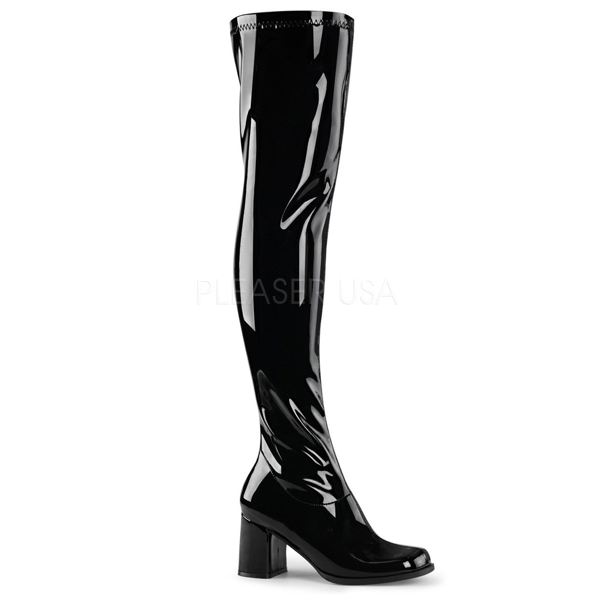 Funtasma GOGO-3000 Black Stretch Patent Gogo Boots - Shoecup.com