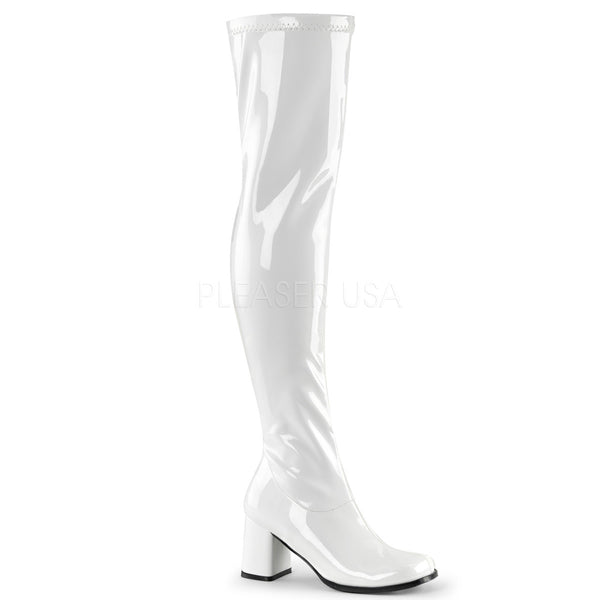 Funtasma GOGO-3000 White Stretch Patent Gogo Boots - Shoecup.com