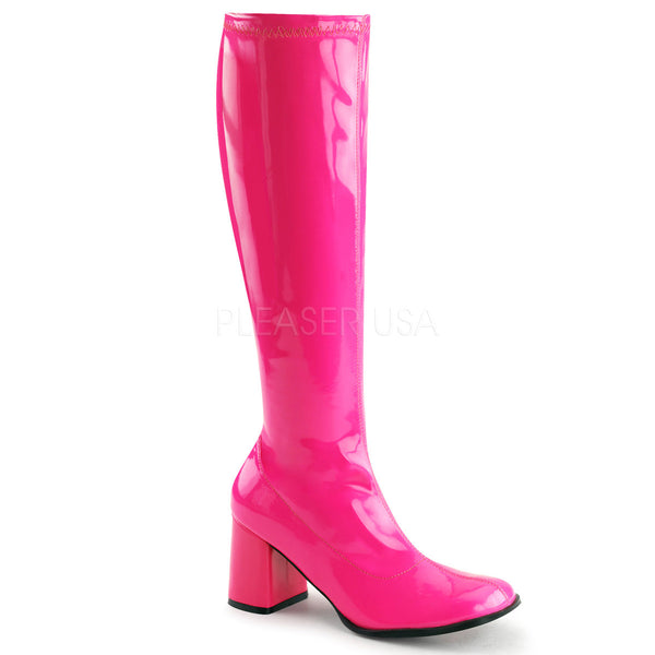 FUNTASMA GOGO-300UV Neon Hot Pink Stretch Pat Knee high Gogo Boots - Shoecup.com