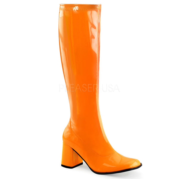 Funtasma GOGO-300UV Neon Orange Stretch Patent Knee High Boots - Shoecup.com